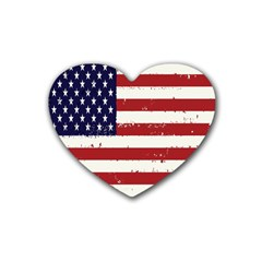 Flag United States United States Of America Stripes Red White Rubber Coaster (heart)