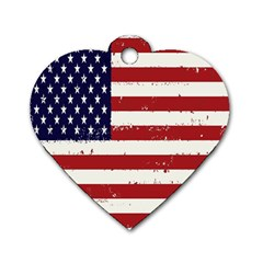 Flag United States United States Of America Stripes Red White Dog Tag Heart (Two Sides)