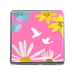 Spring Flower Floral Sunflower Bird Animals White Yellow Pink Blue Memory Card Reader (Square)