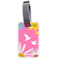 Spring Flower Floral Sunflower Bird Animals White Yellow Pink Blue Luggage Tags (Two Sides)