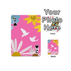 Spring Flower Floral Sunflower Bird Animals White Yellow Pink Blue Playing Cards 54 (Mini)