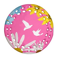 Spring Flower Floral Sunflower Bird Animals White Yellow Pink Blue Round Filigree Ornament (two Sides)