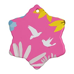 Spring Flower Floral Sunflower Bird Animals White Yellow Pink Blue Snowflake Ornament (Two Sides)