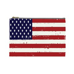 Flag United States United States Of America Stripes Red White Cosmetic Bag (Large)