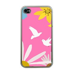 Spring Flower Floral Sunflower Bird Animals White Yellow Pink Blue Apple iPhone 4 Case (Clear)