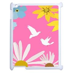 Spring Flower Floral Sunflower Bird Animals White Yellow Pink Blue Apple iPad 2 Case (White)
