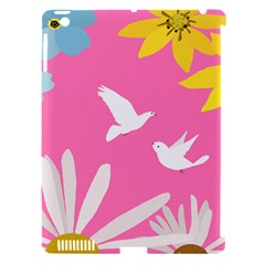 Spring Flower Floral Sunflower Bird Animals White Yellow Pink Blue Apple iPad 3/4 Hardshell Case (Compatible with Smart Cover)