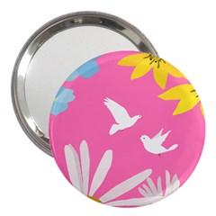 Spring Flower Floral Sunflower Bird Animals White Yellow Pink Blue 3  Handbag Mirrors