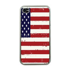 Flag United States United States Of America Stripes Red White Apple Iphone 4 Case (clear)