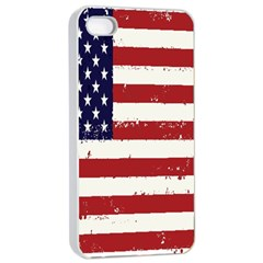 Flag United States United States Of America Stripes Red White Apple iPhone 4/4s Seamless Case (White)