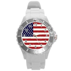 Flag United States United States Of America Stripes Red White Round Plastic Sport Watch (L)