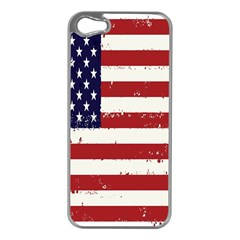Flag United States United States Of America Stripes Red White Apple iPhone 5 Case (Silver)