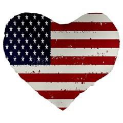 Flag United States United States Of America Stripes Red White Large 19  Premium Heart Shape Cushions