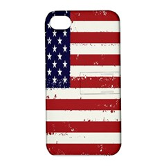Flag United States United States Of America Stripes Red White Apple Iphone 4/4s Hardshell Case With Stand