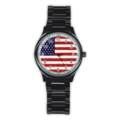 Flag United States United States Of America Stripes Red White Stainless Steel Round Watch