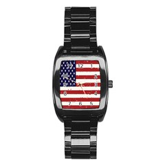 Flag United States United States Of America Stripes Red White Stainless Steel Barrel Watch