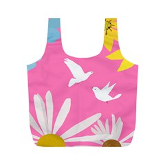 Spring Flower Floral Sunflower Bird Animals White Yellow Pink Blue Full Print Recycle Bags (M)