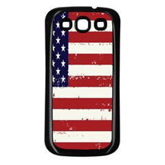 Flag United States United States Of America Stripes Red White Samsung Galaxy S3 Back Case (Black)