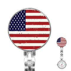 Flag United States United States Of America Stripes Red White Stainless Steel Nurses Watch