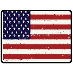 Flag United States United States Of America Stripes Red White Double Sided Fleece Blanket (Large)