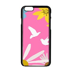 Spring Flower Floral Sunflower Bird Animals White Yellow Pink Blue Apple iPhone 6/6S Black Enamel Case