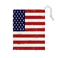 Flag United States United States Of America Stripes Red White Drawstring Pouches (Large)