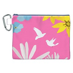 Spring Flower Floral Sunflower Bird Animals White Yellow Pink Blue Canvas Cosmetic Bag (XXL)