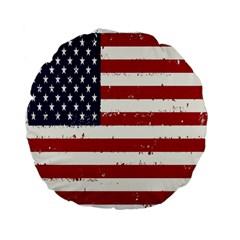 Flag United States United States Of America Stripes Red White Standard 15  Premium Flano Round Cushions