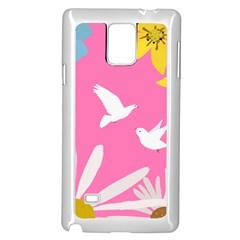 Spring Flower Floral Sunflower Bird Animals White Yellow Pink Blue Samsung Galaxy Note 4 Case (White)