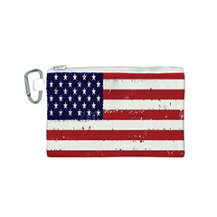 Flag United States United States Of America Stripes Red White Canvas Cosmetic Bag (S)