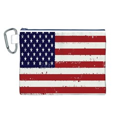 Flag United States United States Of America Stripes Red White Canvas Cosmetic Bag (L)