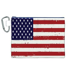 Flag United States United States Of America Stripes Red White Canvas Cosmetic Bag (XL)