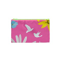 Spring Flower Floral Sunflower Bird Animals White Yellow Pink Blue Cosmetic Bag (XS)