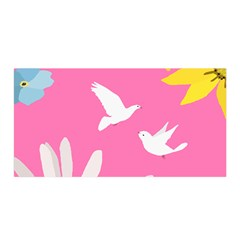 Spring Flower Floral Sunflower Bird Animals White Yellow Pink Blue Satin Wrap