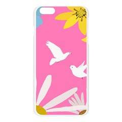 Spring Flower Floral Sunflower Bird Animals White Yellow Pink Blue Apple Seamless iPhone 6 Plus/6S Plus Case (Transparent)