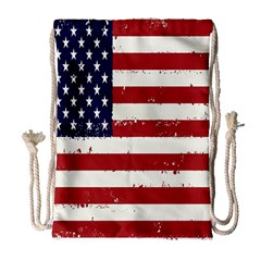 Flag United States United States Of America Stripes Red White Drawstring Bag (Large)