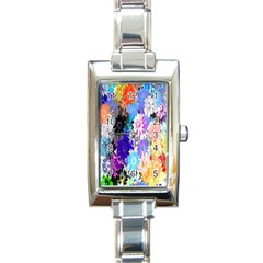 Flowers Colorful Drawing Oil Rectangle Italian Charm Watch