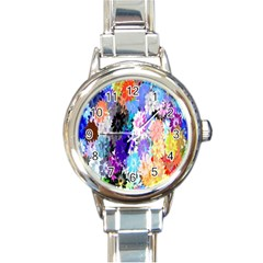 Flowers Colorful Drawing Oil Round Italian Charm Watch
