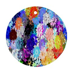 Flowers Colorful Drawing Oil Ornament (round)