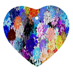 Flowers Colorful Drawing Oil Ornament (heart)