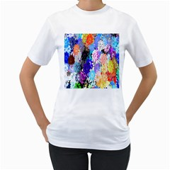Flowers Colorful Drawing Oil Women s T Shirt (white) (two Sided)