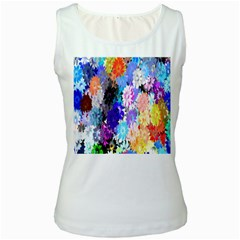 Flowers Colorful Drawing Oil Women s White Tank Top