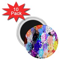 Flowers Colorful Drawing Oil 1 75  Magnets (10 Pack)