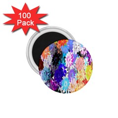 Flowers Colorful Drawing Oil 1.75  Magnets (100 pack)