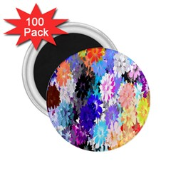 Flowers Colorful Drawing Oil 2 25  Magnets (100 Pack)