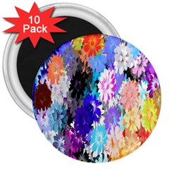 Flowers Colorful Drawing Oil 3  Magnets (10 pack)