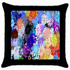Flowers Colorful Drawing Oil Throw Pillow Case (black)