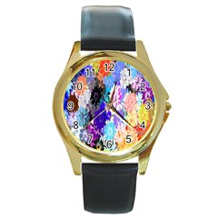Flowers Colorful Drawing Oil Round Gold Metal Watch