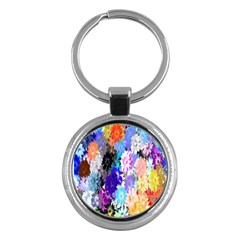 Flowers Colorful Drawing Oil Key Chains (Round)