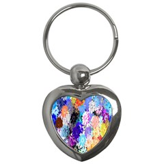 Flowers Colorful Drawing Oil Key Chains (Heart)